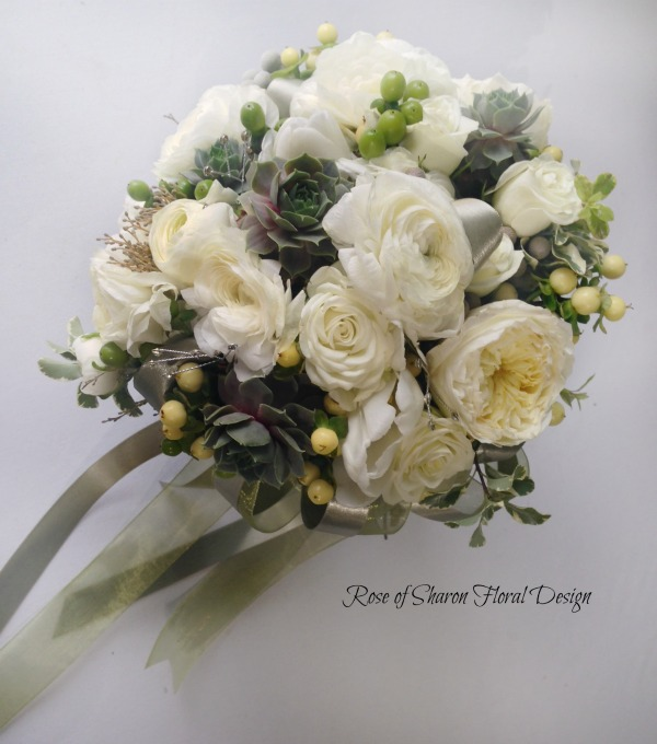 Hand-Tied Round Bouquet. White Roses, Ranunculus, Succulents & Hypericum Berries. Rose of Sharon Floral Designs