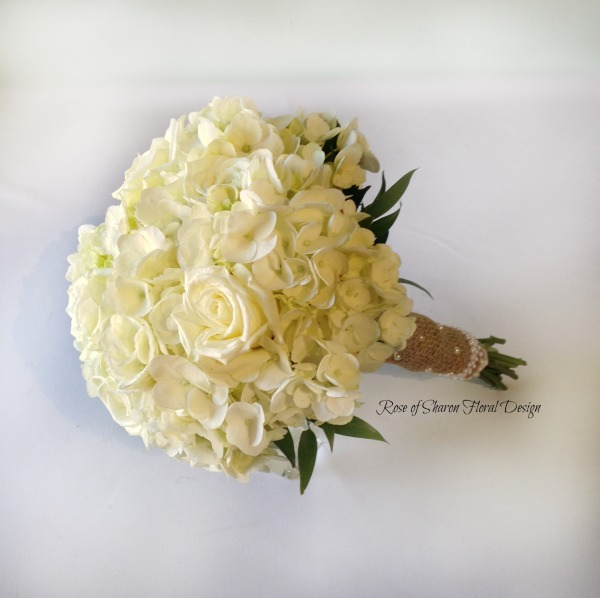 White Rose and Hydrangea Bouquet. Rose of Sharon Floral Designs