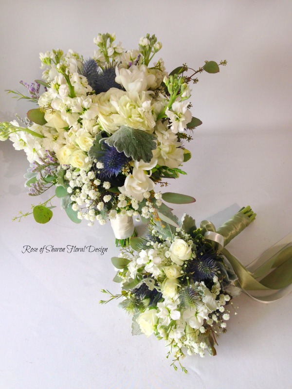 Blue and Cream Hand-Tied Organic Bouquets with Stock, Roses and Thistle. Rose of Sharon Floral Designs