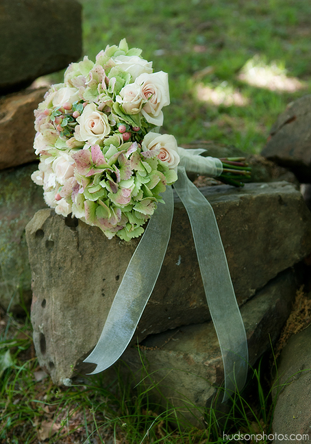 Hand-Tied Hydrangea and Rose Bouquet, Hudson Photography. Rose of Sharon Floral Designs