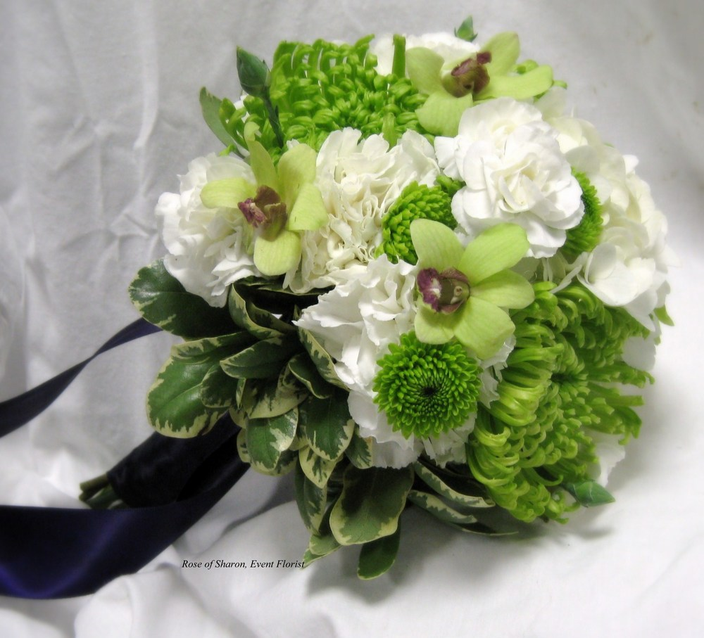 Hand-Tied Orchid, Carnation & Mum Bouquet. Rose of Sharon Floral Designs