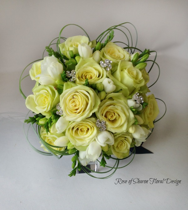 Hand-Tied Rose and Freesia Bouquet with Silver Accents. Rose of Sharon Floral Designs