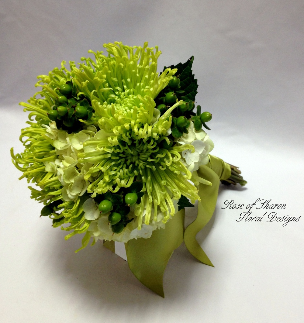 Hand-Tied Bouquet. Spider Mum, Hydrangea & Hypericum Berries. Rose of Sharon Floral Designs