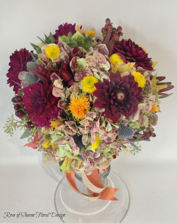 Hand Tied Hydrangea, Dahlia, Eryngium Bouquet, Rose of Sharon Floral Designs
