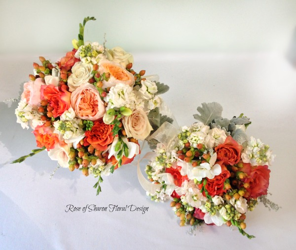 Orange and Peach Garden Style Bouquets. Garden Roses, Freesia, Hypericum Berries. Rose of Sharon Floral Designs