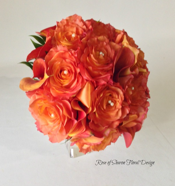 Orange Hand-Tied Bouquet with Calla Lilies and Free Spirit Roses. Rose of Sharon Floral Designs