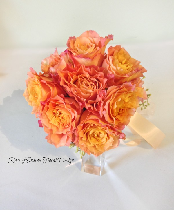 Orange Hand-Tied Free Spirit Rose Bouquet. Rose of Sharon Floral Designs