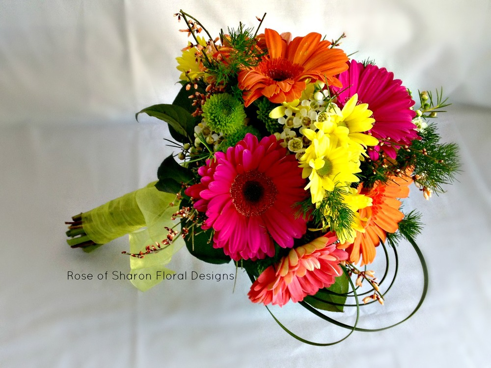 Daisy and Mum Hand Tied Bouquet, Rose of Sharon Floral Designs