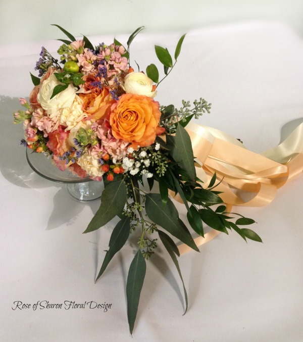 Peach and Orange Garden Style Bouquet with Free Spirit Garden Roses. Rose of Sharon Floral Designs