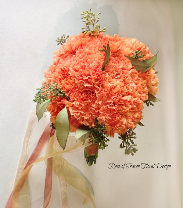 Peach Hand-Tied Carnation Bouquet with Seeded Eucalyptus. Rose of Sharon Floral Designs