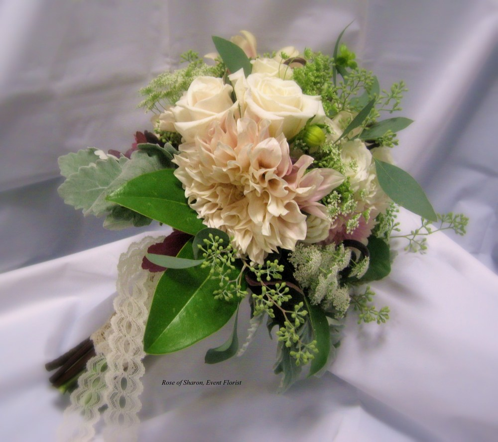 Hand Tied Bouquet with Roses and Dahlias, Rose of Sharon Floral Designs
