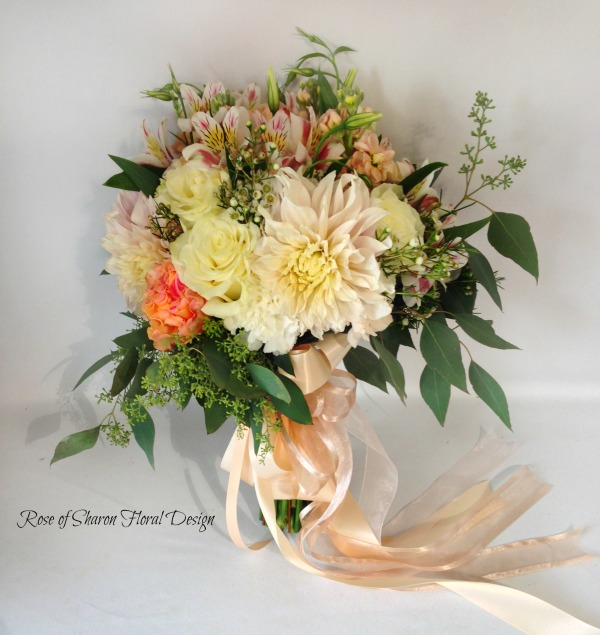 Garden Bouquet featuring Dahlias and Roses, Rose of Sharon Floral Designs