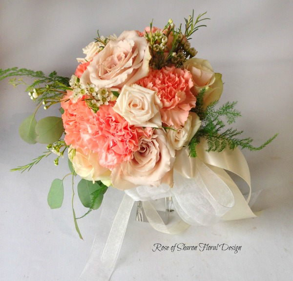 Peach and White Hand Tied Bouquet with Roses and Carnations, Rose of Sharon Floral Designs