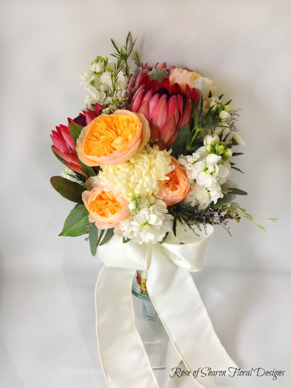 Spring Bouquet featuring Protea, Garden Roses, and Mums, Rose of Sharon Floral Designs