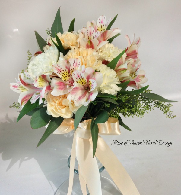 Hand Tied Carnation and Alstroemeria Lily Bouquet, Rose of Sharon Floral Designs