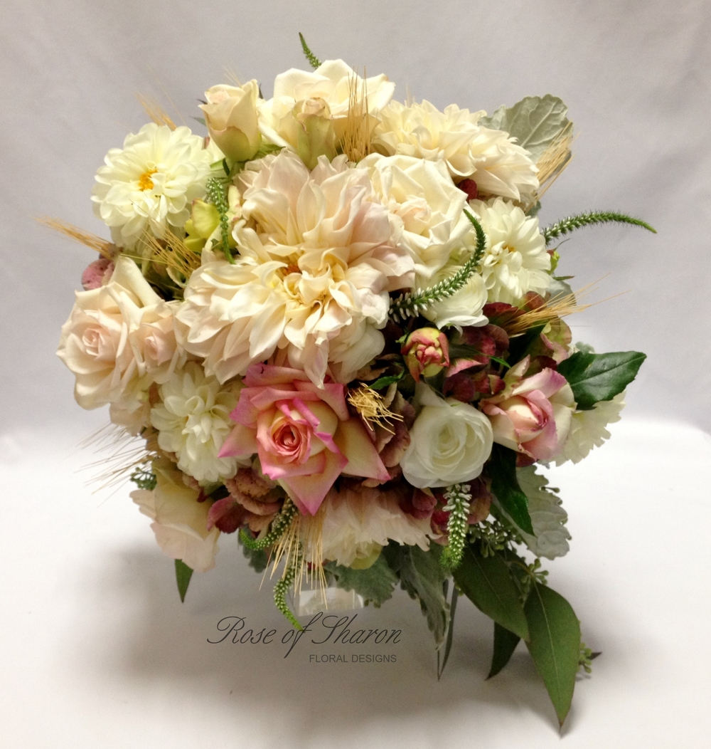 Pink and cream. Mixed Garden Bouquet with Roses and Dahlias, Rose of Sharon Floral Designs