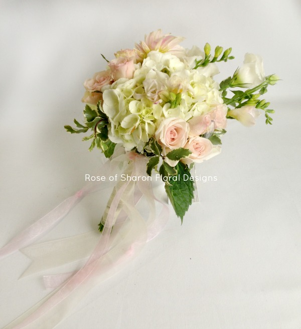 Blush and white. Hydrangea, Freesia and Rose Hand Tied Bouquet, Rose of Sharon Floral Designs