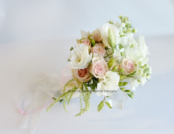 Pink and White. Mixed Hand Tied Bouquet with Roses and Stock, Rose of Sharon Floral Designs