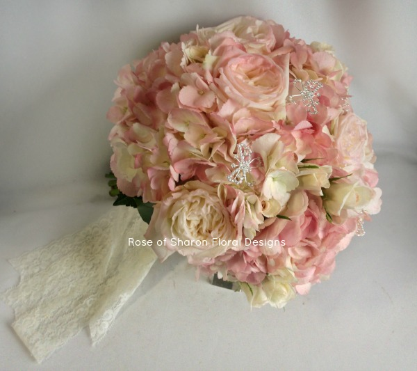 Pink Hydrangea and Rose Bouquet with Butterfly Accents, Rose of Sharon Floral Designs