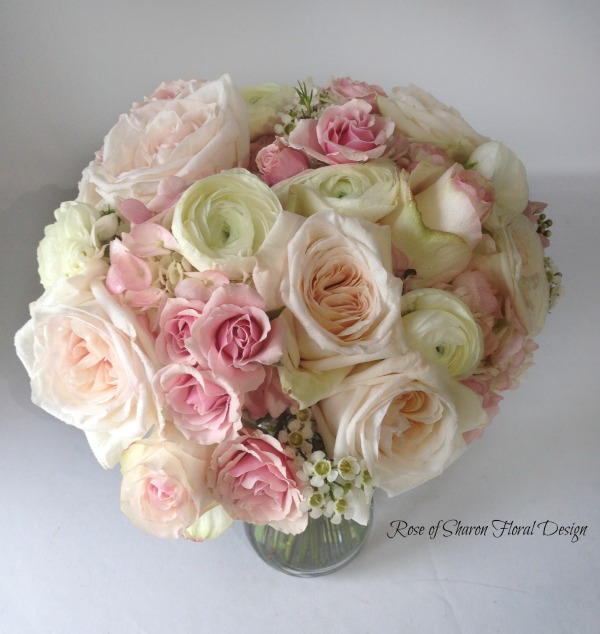 Pink and White Hand Tied Rose Bouquet with Wax Flower, Rose of Sharon Floral Designs
