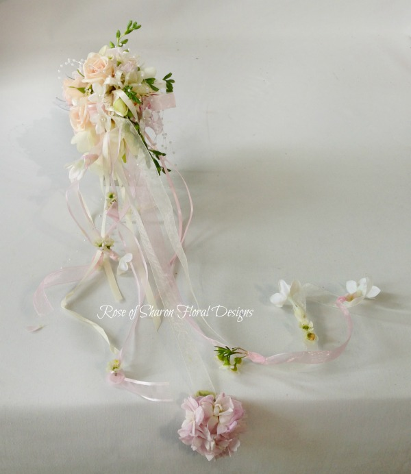 Cascading Mixed Garden Bouquet, Rose of Sharon Floral Designs