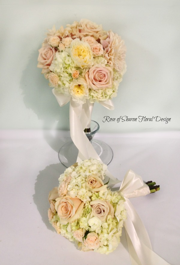 Hand Tied Rose and Hydrangea Bouquets, Rose of Sharon Floral Designs