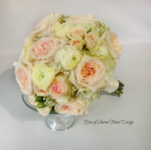 Hand Tied Garden Rose and Ranunculus Bouquet, Rose of Sharon Floral Designs