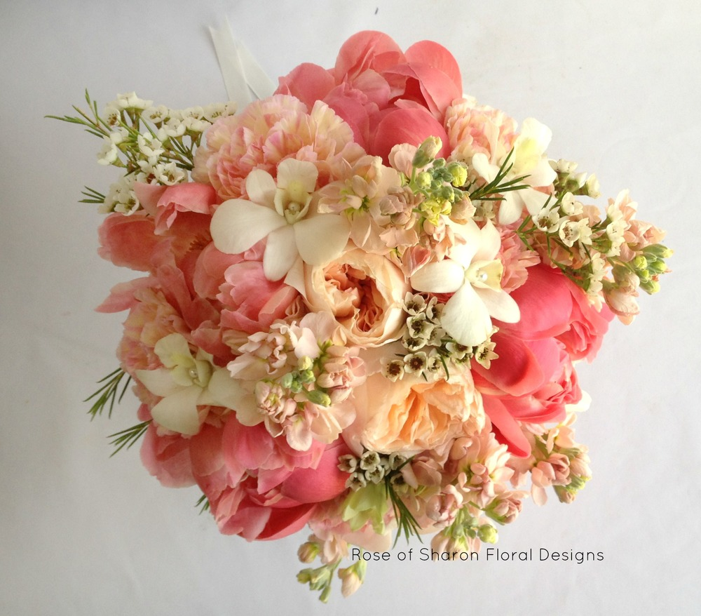 Peach Bouquet with Peonies, Garden Roses, Orchids and Wax Flower, Rose of Sharon Floral Designs