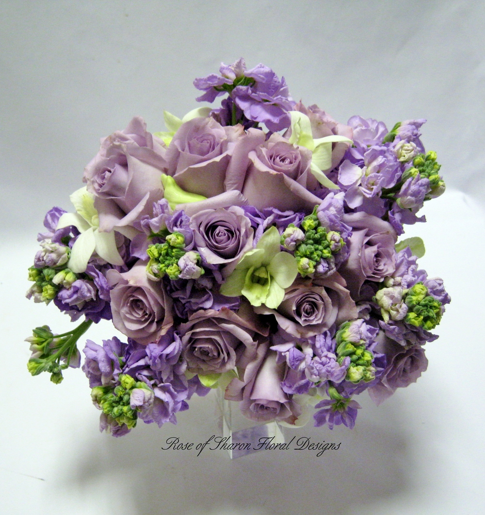 Lavender Hand Tied Bouquet with Roses, Stock and Orchids, Rose of Sharon Floral Designs