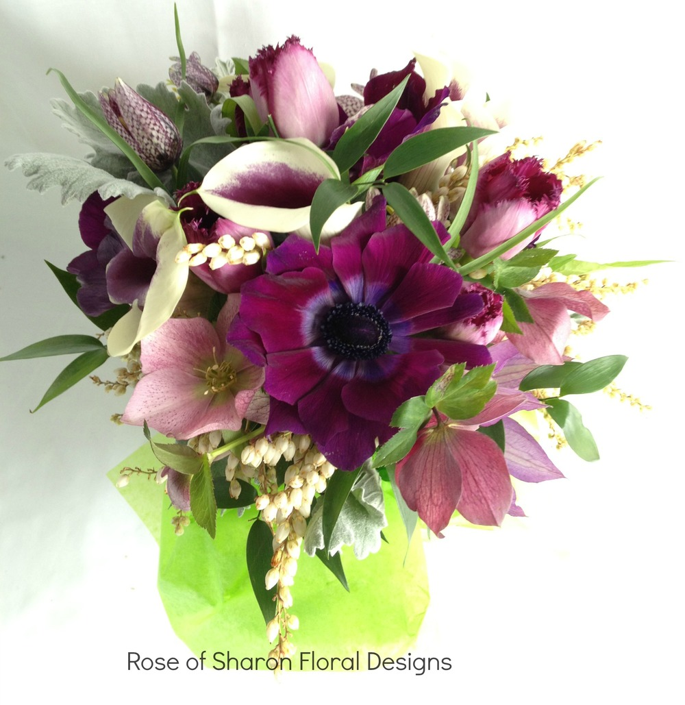 Mixed Purple Bouquet with Foliage, Rose of Sharon Floral Designs