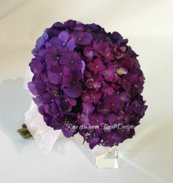 Hand Tied Purple Hydrangea Bouquet, Rose of Sharon Floral Designs