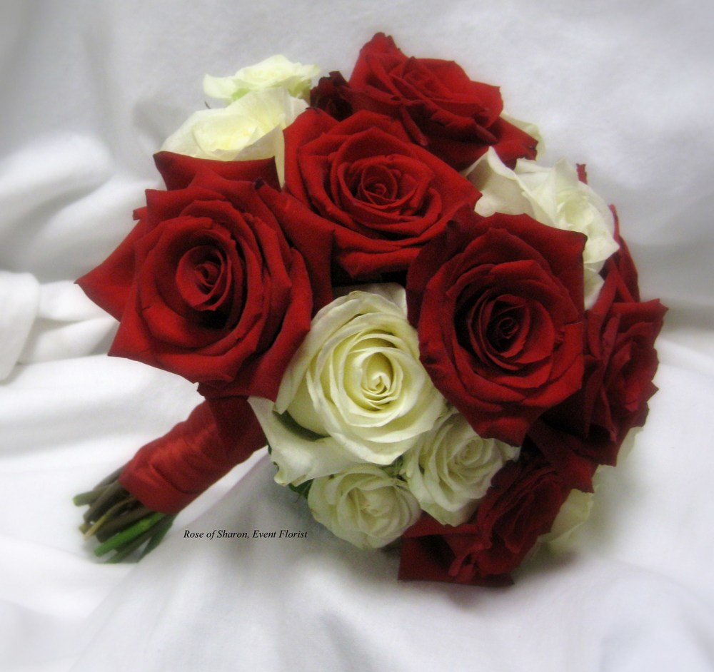 Hand Tied Red and White Rose Bouquet, Rose of Sharon Floral Designs