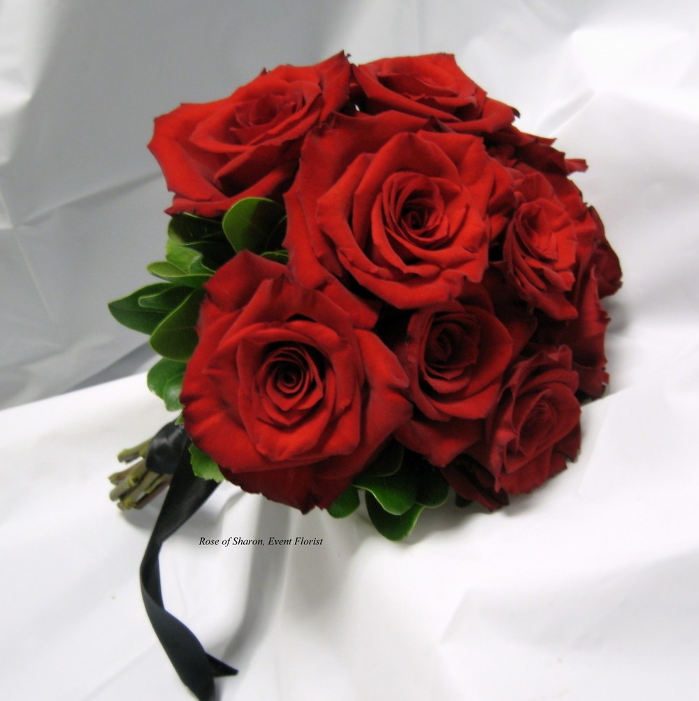 Hand Tied Red Rose Bouquet with Foliage, Rose of Sharon Floral Designs