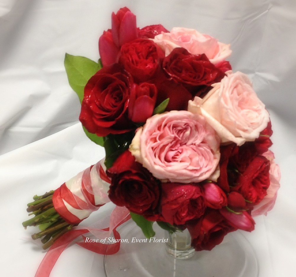 Hand Tied Bouquet with Pink Garden Roses, Red Roses and Tulips, Rose of Sharon Floral Designs