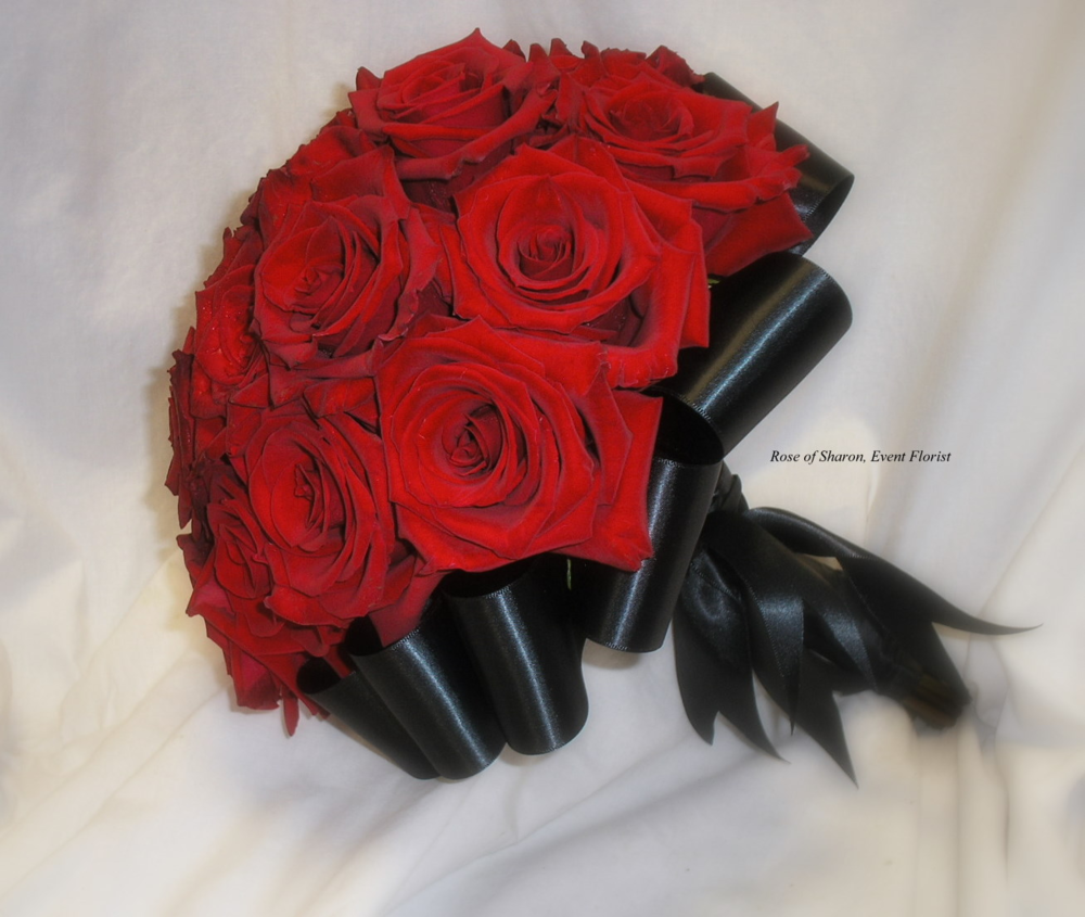 Red Rose Bouquet with Ribbon Accents, Rose of Sharon Floral Designs