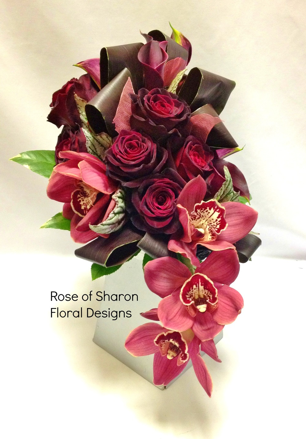 Red Cascading Bouquet with Roses and Orchids, Rose of Sharon Floral Designs