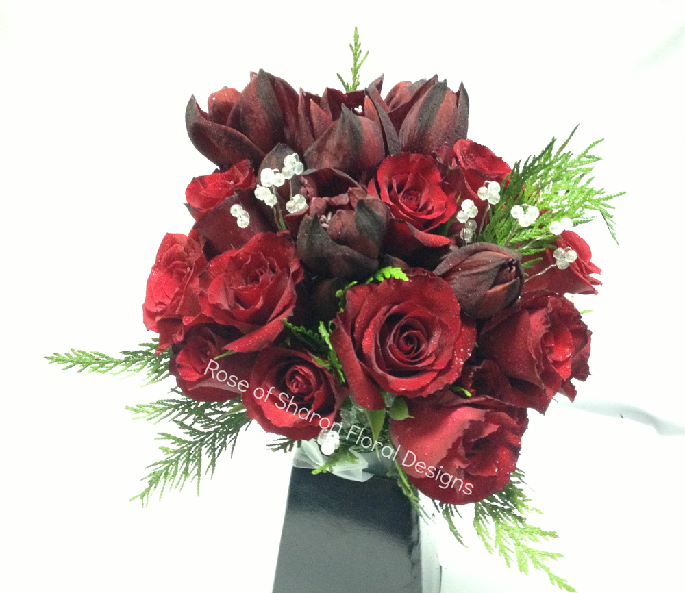Hand Tied Red Rose Bouquet, Rose of Sharon Floral Designs