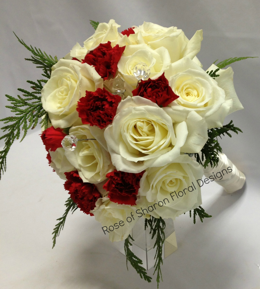 Hand Tied White Rose and Red Carnation Bouquet, Rose of Sharon Floral Designs