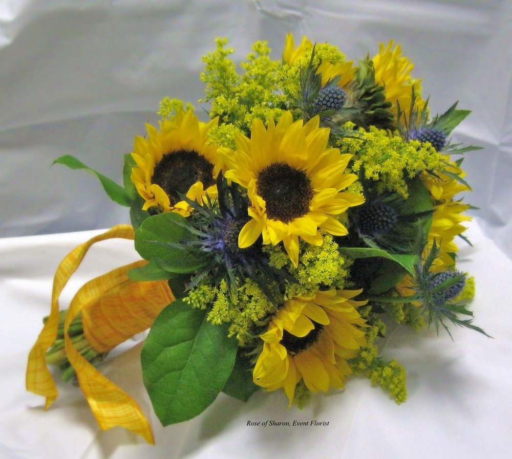 Sunflower, solidago & eryngium bouquet. Rose of Sharon Floral Designs