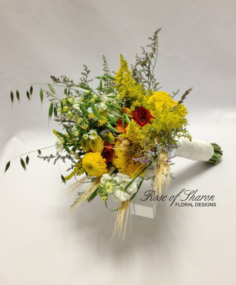 Yellow organic bouquet with mums, solidago & wheat. Rose of Sharon Floral Designs