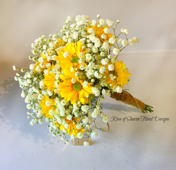 Yellow daisy & baby's breath bouquet. Rose of Sharon Floral Designs