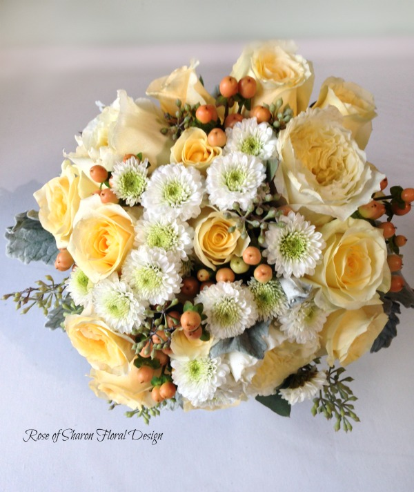 Hand-tied soft yellow rose & white button mum bouquet. Succulent & gerbera daisy bouquet with billy balls & eucalyptus. Rose of Sharon Floral Designs