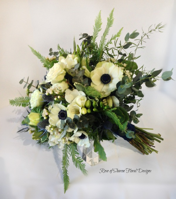 Organic Hand-Tied Bouquet. Anemones, Freesia, Eucalyptus & Eryngium. Rose of Sharon Floral Designs