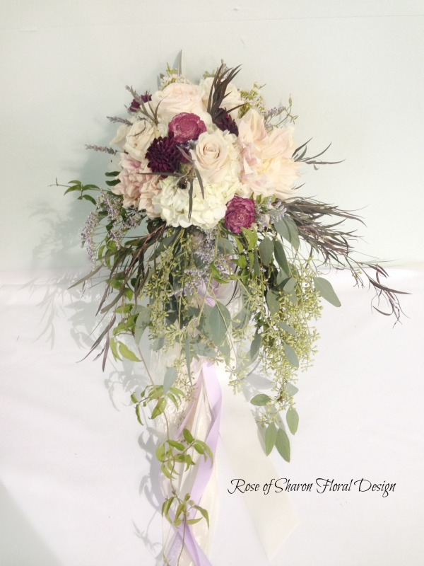 Plum and Blush Natural Cascading Bouquet. Garden roses, dahlias, scabiosa, hydrangea, and eucalyptus. Rose of Sharon Floral Designs.