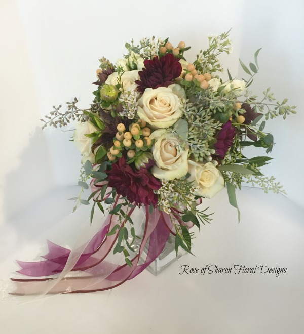 Simi-organic blush & burgundy Bridal bouquet. Roses, dahlias & hypericum with eucalyptus. Rose of Sharon Floral Designs