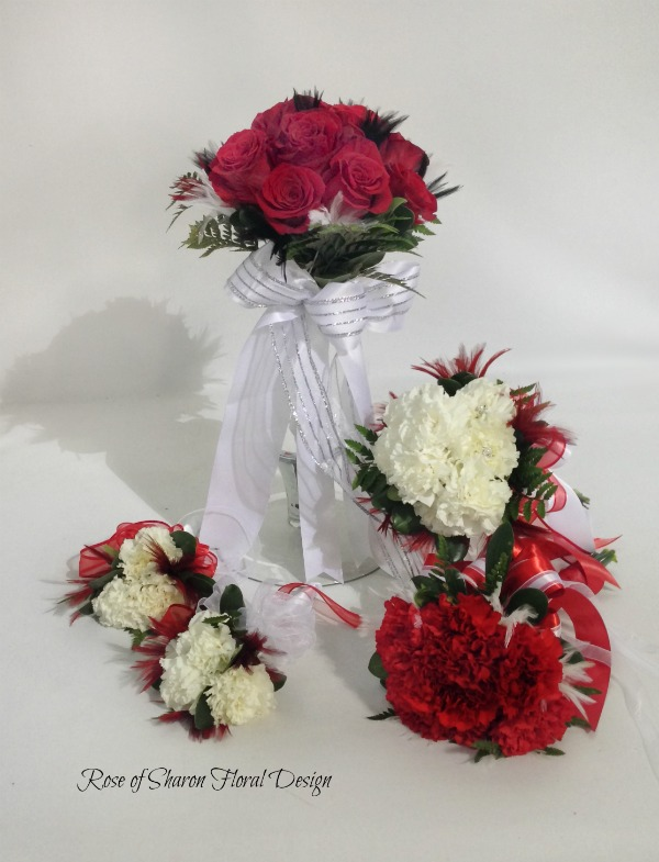 Red & white rose & carnation bouquets. Rose of Sharon Floral Designs