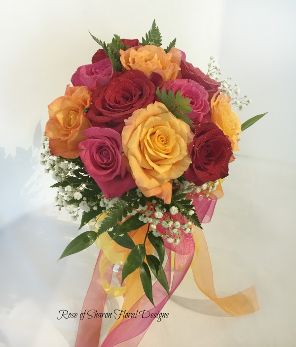 Hand-Tied Bouquet with Peach, Red and Pink Roses and Baby's Breath. Rose of Sharon Floral Designs