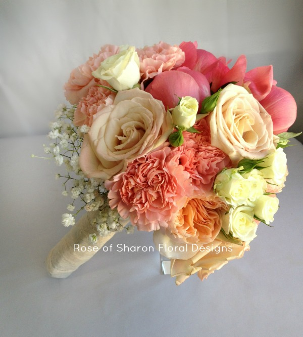 Peach Hand-Tied Bouquet featuring Roses and Carnations, Rose of Sharon Floral Designs