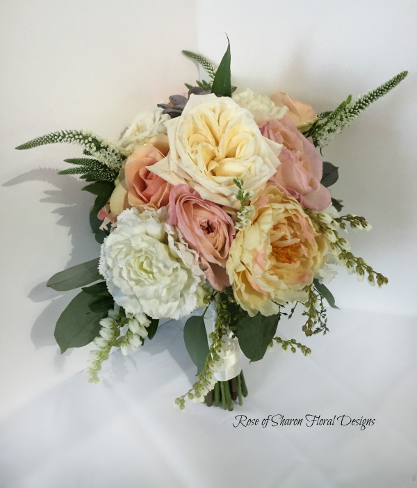 Hand-Tied Bouquet with Roses and Peonies, Rose of Sharon Floral Designs