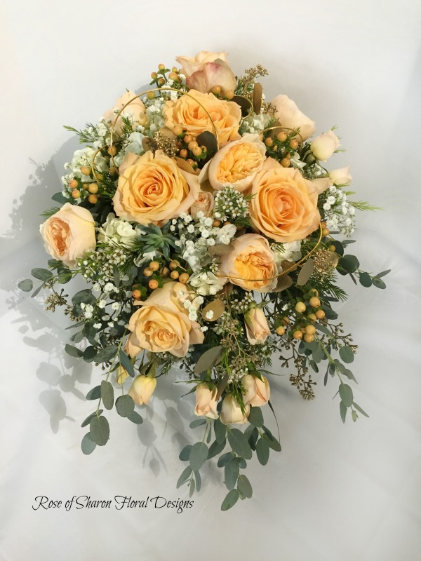 Cascading Bouquet featuring Roses and Eucalyptus, Rose of Sharon Floral Designs